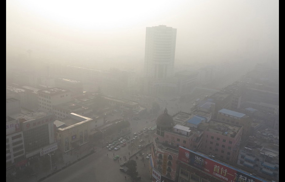 多地雾霾笼罩北京城区m2.5指数超标